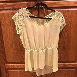 Mint green sheer/lace top